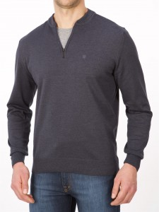 Sweter polo zamek denim - regular